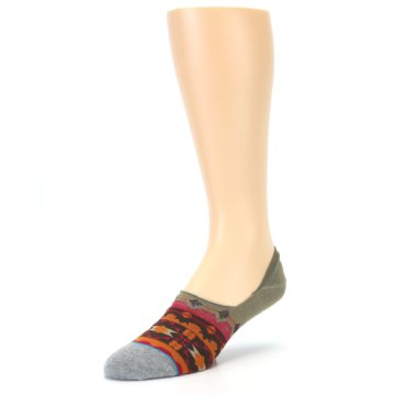 Image of Grey Orange Tribal Pattern Men's Liner Socks (side-2-front-08)