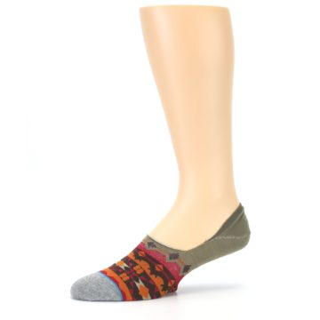 Image of Grey Orange Tribal Pattern Men's Liner Socks (side-2-10)