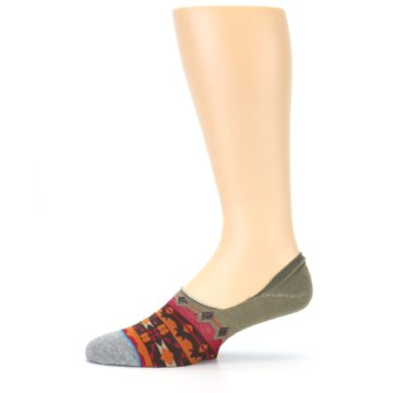 Image of Grey Orange Tribal Pattern Men's Liner Socks (side-2-11)