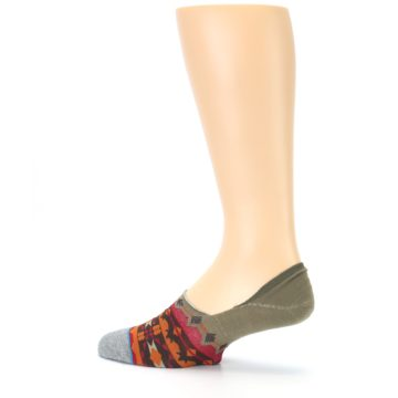Image of Grey Orange Tribal Pattern Men's Liner Socks (side-2-13)
