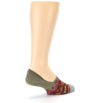 Image of Grey Orange Tribal Pattern Men's Liner Socks (side-1-back-22)
