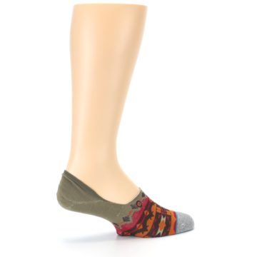 Image of Grey Orange Tribal Pattern Men's Liner Socks (side-1-23)