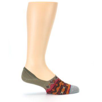 Image of Grey Orange Tribal Pattern Men's Liner Socks (side-1-24)