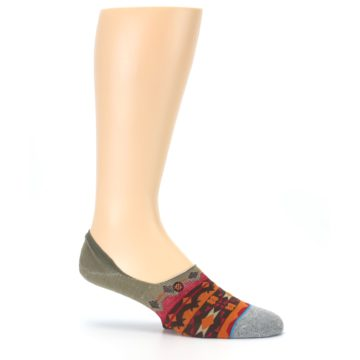 Image of Grey Orange Tribal Pattern Men's Liner Socks (side-1-25)