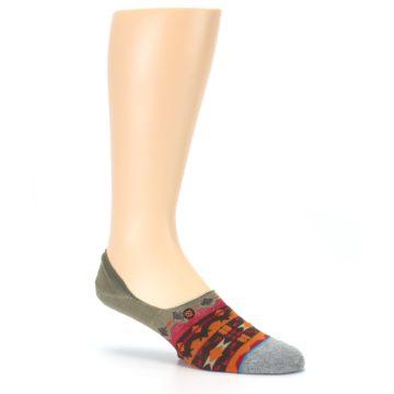 Image of Grey Orange Tribal Pattern Men's Liner Socks (side-1-26)