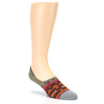 Image of Grey Orange Tribal Pattern Men's Liner Socks (side-1-27)