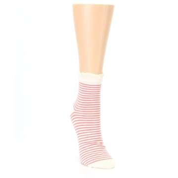 Image of Coral Cream Stripes Women's Ankle Socks (side-1-front-03)