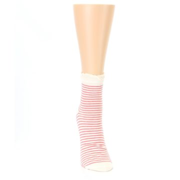 Image of Coral Cream Stripes Women's Ankle Socks (front-04)