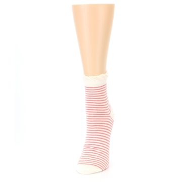 Image of Coral Cream Stripes Women's Ankle Socks (side-2-front-07)