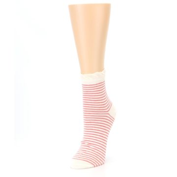 Image of Coral Cream Stripes Women's Ankle Socks (side-2-front-08)
