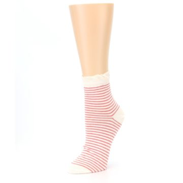 Image of Coral Cream Stripes Women's Ankle Socks (side-2-09)