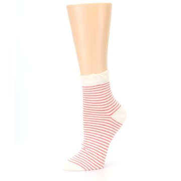 Image of Coral Cream Stripes Women's Ankle Socks (side-2-10)