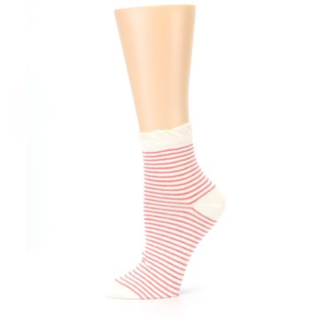 Image of Coral Cream Stripes Women's Ankle Socks (side-2-11)