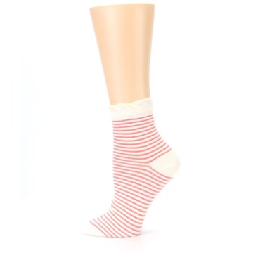 Image of Coral Cream Stripes Women's Ankle Socks (side-2-12)