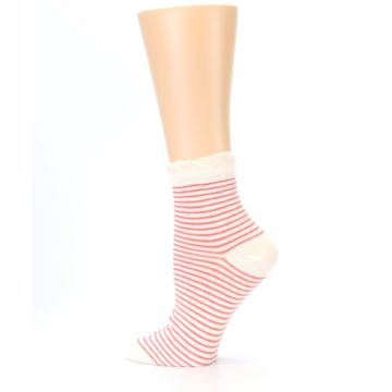 Image of Coral Cream Stripes Women's Ankle Socks (side-2-13)