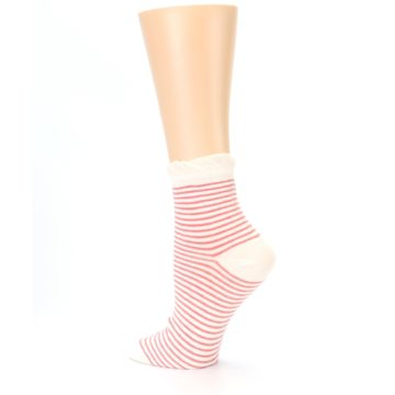 Image of Coral Cream Stripes Women's Ankle Socks (side-2-back-14)