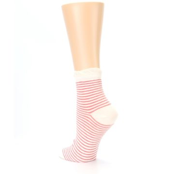 Image of Coral Cream Stripes Women's Ankle Socks (side-2-back-15)