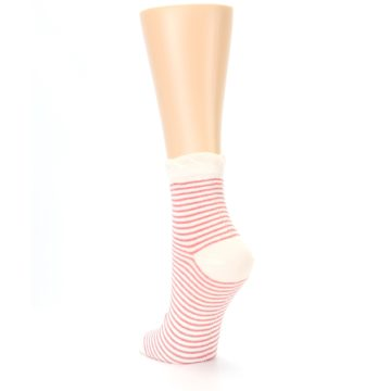 Image of Coral Cream Stripes Women's Ankle Socks (side-2-back-16)