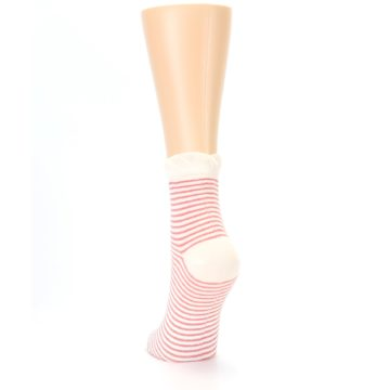Image of Coral Cream Stripes Women's Ankle Socks (back-17)