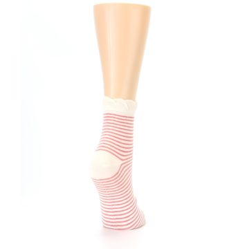 Image of Coral Cream Stripes Women's Ankle Socks (side-1-back-21)
