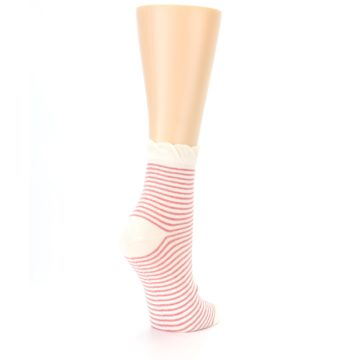 Image of Coral Cream Stripes Women's Ankle Socks (side-1-back-22)