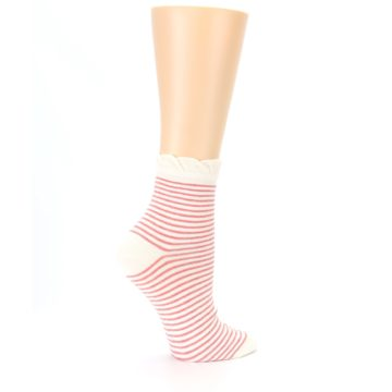 Image of Coral Cream Stripes Women's Ankle Socks (side-1-24)