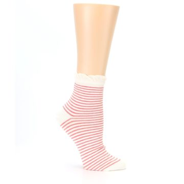 Image of Coral Cream Stripes Women's Ankle Socks (side-1-26)