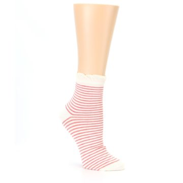 Image of Coral Cream Stripes Women's Ankle Socks (side-1-27)