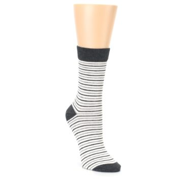 Image of Heather White Stripes Women's Dress Socks (side-1-front-02)
