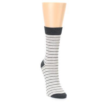 Image of Heather White Stripes Women's Dress Socks (side-1-front-03)