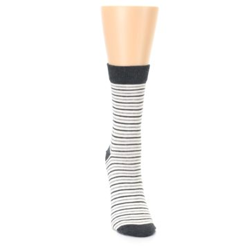 Image of Heather White Stripes Women's Dress Socks (front-04)