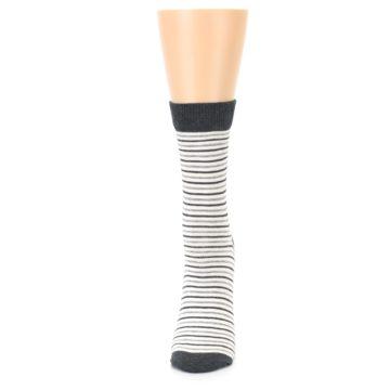 Image of Heather White Stripes Women's Dress Socks (side-2-front-06)