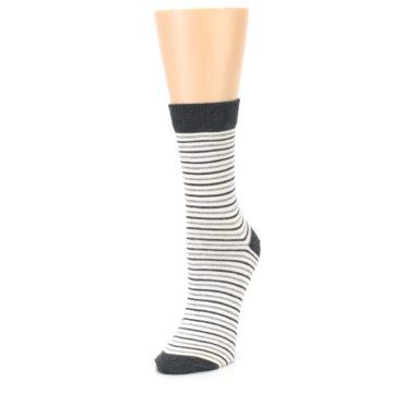 Image of Heather White Stripes Women's Dress Socks (side-2-front-08)