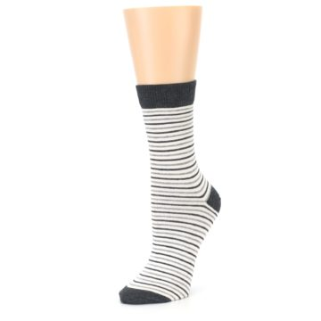 Image of Heather White Stripes Women's Dress Socks (side-2-09)
