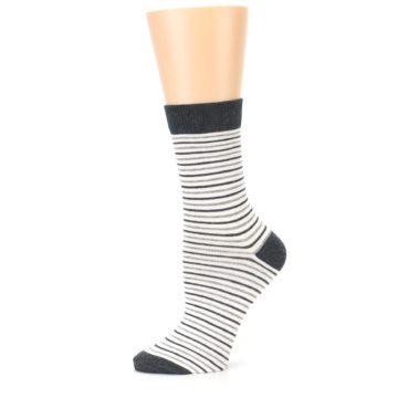 Image of Heather White Stripes Women's Dress Socks (side-2-11)