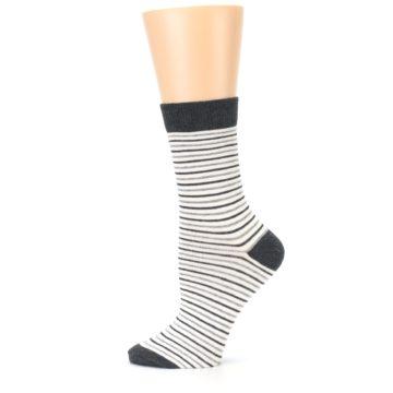Image of Heather White Stripes Women's Dress Socks (side-2-12)