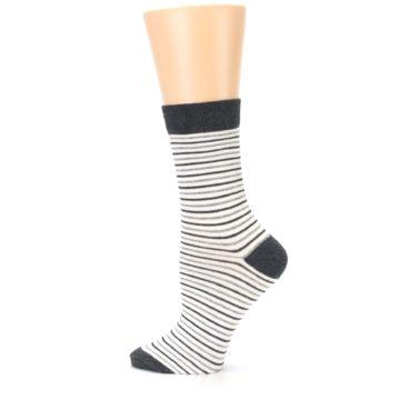 Image of Heather White Stripes Women's Dress Socks (side-2-13)