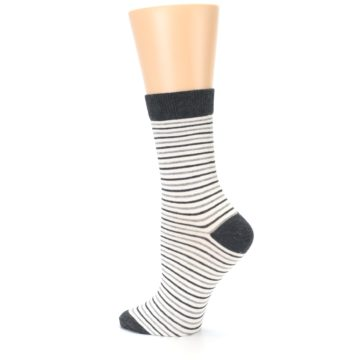 Image of Heather White Stripes Women's Dress Socks (side-2-back-14)