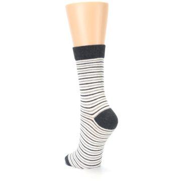 Image of Heather White Stripes Women's Dress Socks (side-2-back-16)