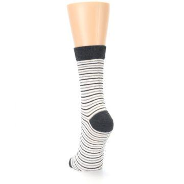 Image of Heather White Stripes Women's Dress Socks (back-17)