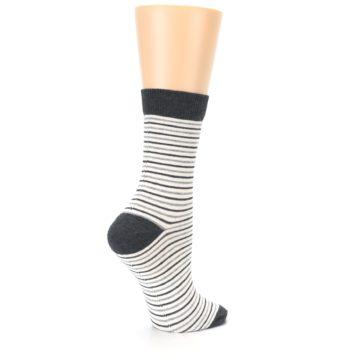 Image of Heather White Stripes Women's Dress Socks (side-1-23)