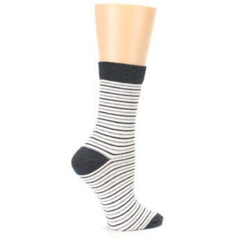 Image of Heather White Stripes Women's Dress Socks (side-1-24)