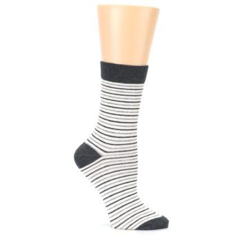 Image of Heather White Stripes Women's Dress Socks (side-1-26)