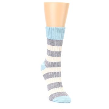 Image of Blue Grey Cream Stripes Women's Dress Socks (side-1-front-02)