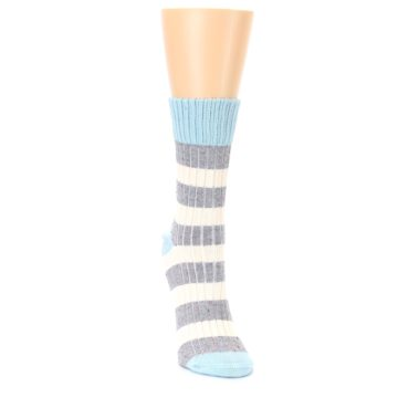 Image of Blue Grey Cream Stripes Women's Dress Socks (side-1-front-03)