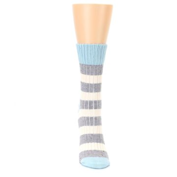 Image of Blue Grey Cream Stripes Women's Dress Socks (front-04)