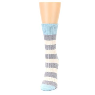 Image of Blue Grey Cream Stripes Women's Dress Socks (side-2-front-06)