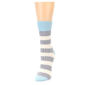 Image of Blue Grey Cream Stripes Women's Dress Socks (side-2-front-07)
