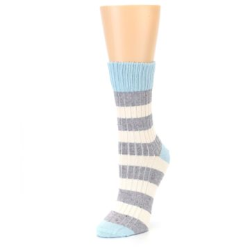 Image of Blue Grey Cream Stripes Women's Dress Socks (side-2-front-08)