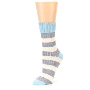 Image of Blue Grey Cream Stripes Women's Dress Socks (side-2-09)